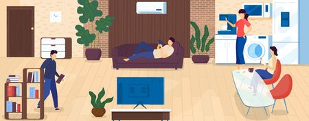 Home leisure and rest after work, people spending time indoors, relax, drinking coffee, reading book cartoon vector Illustration. Home evening family entertainment and lifestyle. 向量圖像