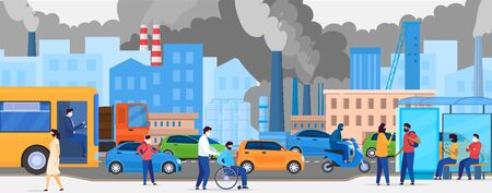 Pollution in city with road traffic and pedestrian in masks, ecology in urban street traffic, people walking and smoked polluted cityscape vector illustration. City sky pollutants from transport.