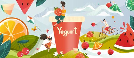 Yogurt with summer fruits memories drink on green meadow, flowers and fruits and berries, childrens milky yohurt drink vector illustration. Field landscape for milky yoghourt advertisement.