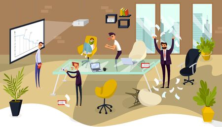 Business men in stress in office, workers shouting and throwing papers, sad, concept of stressed people in problem cartoon vector illustration. Negative emotion stress office, employee and managers.
