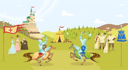 Medieval epoch tournament, cartoon people characters, knights with swords on horses fighting, peasants and castle vector illustration. Medieval life enterternament and historic games.