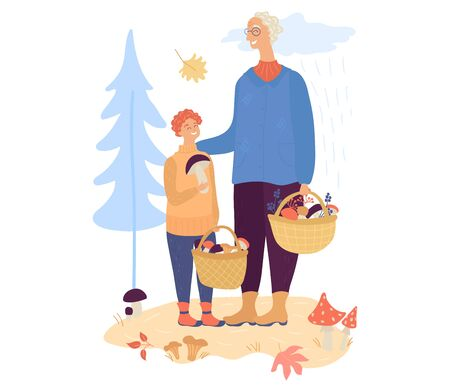 Happy grandfather and his grandson walking fall autumn forest and pick up mushroom isolated on white Vector Illustration
