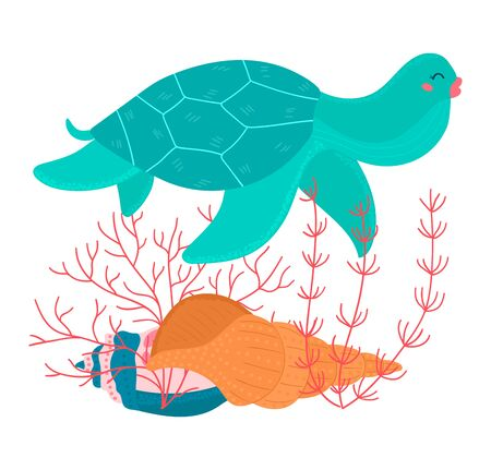 Cartoon tropical color turtle animal swims above seashell and seaweed underwater isolated on white, vector, illustration. Иллюстрация