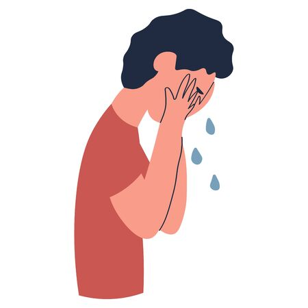 Cartoon of casual upset man are crying isolated on white illustration, vector. Young guy sad expression, resentment and pain, the mood of people. Unhappy male for use in advertising, background or banner Illustration