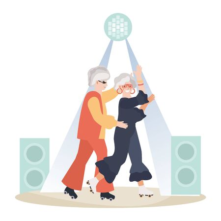 Old male and female dancing on street, senior romantic night concept and vector illustration on white background. Illustration