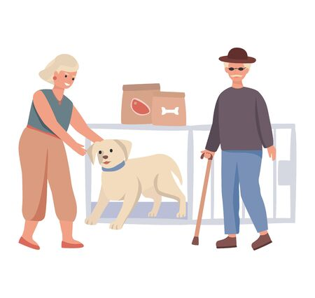 Dog give paw to kid and man concept and vector illustration on white background. Father and son, people character. Ilustração