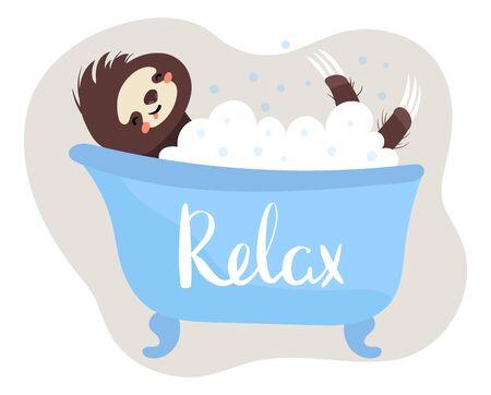 Sloth lazy sleep in bathroom, relax healthy sleep in bath concept vector illustration on white background