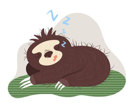 Sloth dream on green leaf, strong and healthy sleep concept and vector illustration on white background. Character sloth rest on leaf.