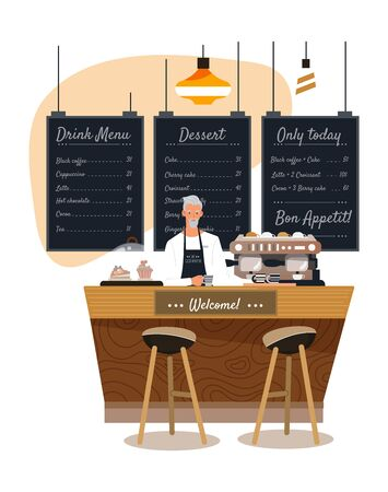Bartender in coffee house, man cartoon character work in cozy cafe, modern bakery, vector illustration