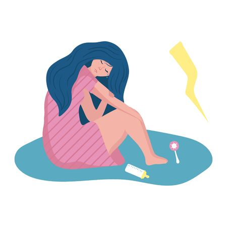 Woman sitting in pool of tear, problem with mental state concept and vector illustration on white background. Unstable psychological condition.