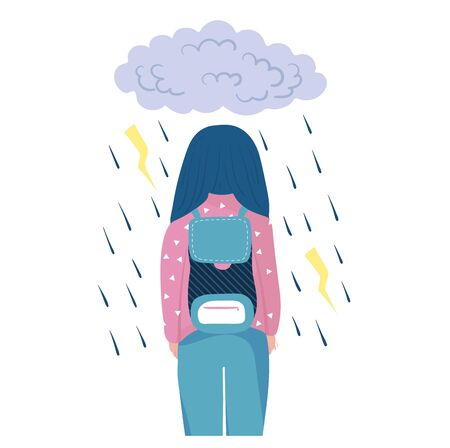 Woman walk in rain and storm, sad mood after bad day concept and vector illustration on white background. Unstable psychological condition.