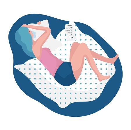 Woman characters crying and sleep in bed on pillow and blanket concept and vector illustration on white background. 向量圖像