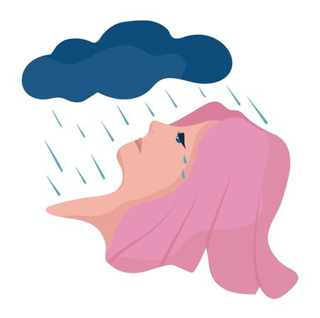 Bad day for girl with pink hair, rain falling on face concept and vector illustration on white background. Unstable mental.