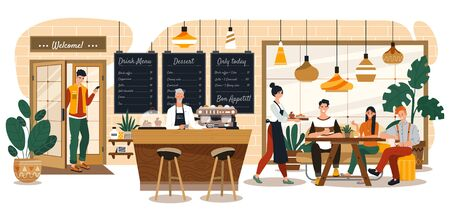 People in cozy cafe, coffee shop interior, happy customers and waitress, vector illustration