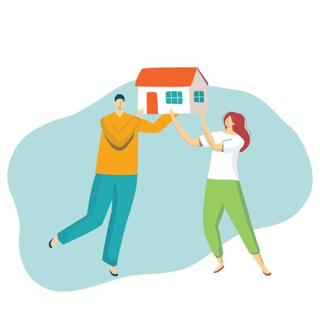 Cartoon young happy man and woman holding a model of new house and thinking about buying dream, isolated on white, vector illustration. Stock Illustratie