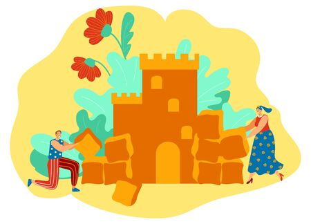 Man and woman building romantic castle, love story concept, people vector illustration Stock fotó - 145743468