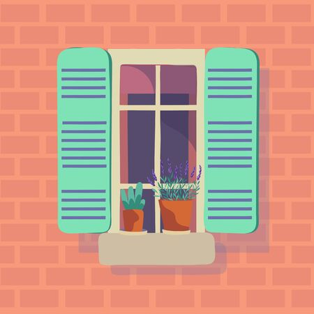 Vector illustration of open window with green shutters and flower pots on orange brick home wall. Cartoon house element.