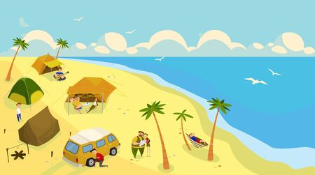 Camping at ocean beach, outdoor summer vacation, vector illustration. People in tents at seaside, campsite on tropical island. Summertime travel, sea beach leisure and recreation. Vacation trip camp