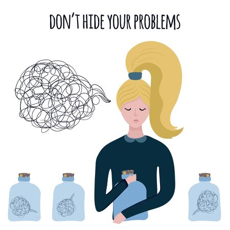 Cartoon young blonde woman hide her problems or nuisance with glass jar isolated on white, vector flat illustration.