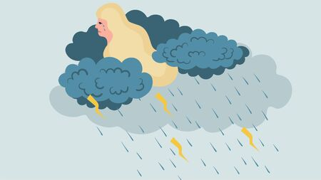 Cartoon young blonde sad unhappy woman in depression on blue, illustration vector. Dark clouds and rain near head, who cry. Embarrassed girl with long hair think about her nuisance, female depression. Illustration