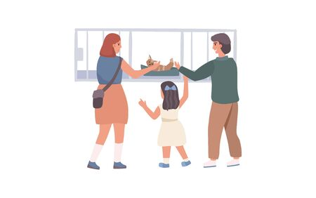 Woman give to child and mother a cat concept and vector illustration on white background. Male and female characters. Animal nursery.