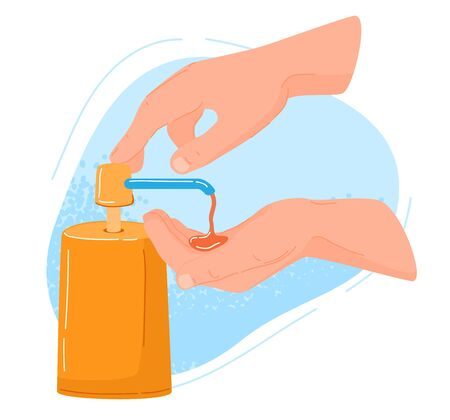 Hygiene procedures, washing hand by soap against covid-19 virus vector Illustration. Use soap, clean foam on hands under running water helpful in preventing flu. It necessary to use microbial detergent.