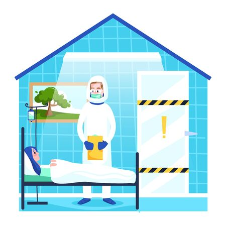 Girl on self-isolation during quarantine, vector illustration. In city flu virus fly between houses. Woman character work at laptop, fenced off from outside world. Coronovirus protection.
