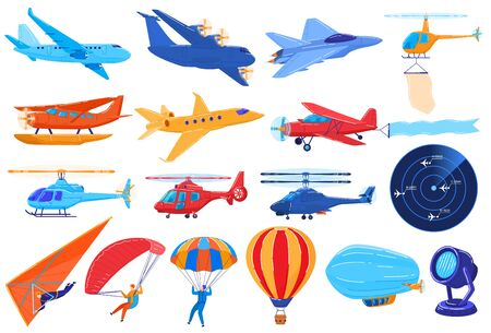 Air transport isolated on white, set of planes and helicopters in cartoon style, vector illustration Vektorové ilustrace