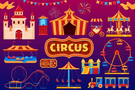 Circus icons, amusement park carnival, fairground festival isolated set, vector illustration