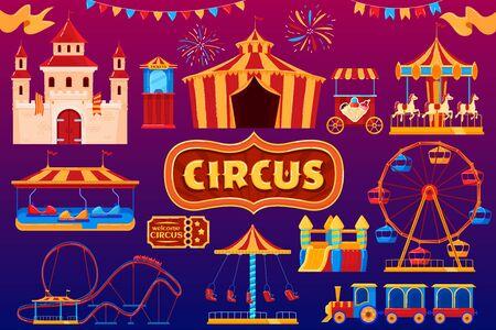 Circus icons, amusement park carnival, fairground festival isolated set, vector illustration
