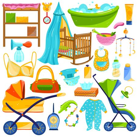 Baby care objects, newborn items supplies, set of icons isolated on white, vector illustration