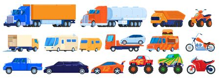 Cars isolated on white, trucks and industrial vehicles set, motorcycle and camper van, vector illustration Ilustración de vector