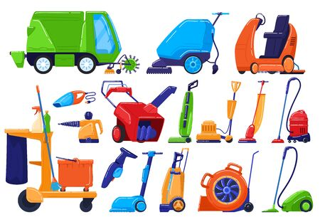 Cleaning equipment, maintenance service appliance, sweeper for house and street, vector illustration