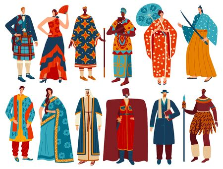 Multicultural people in traditional national costumes, isolated cartoon characters, vector illustration
