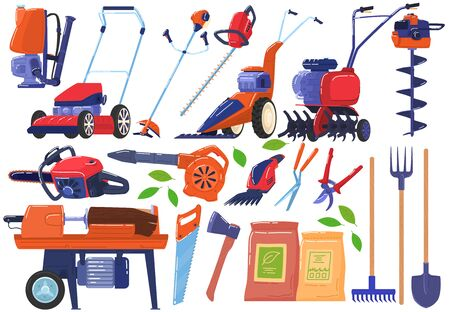 Outils de jardin et de ferme, collection d'icônes d'instruments isolée sur illustration vectorielle blanc. Vecteurs