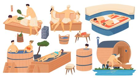 Sauna and spa wooden bathhouse, people in apanese russian and turkish bath, steam house relax and leisure isolated set cartoon vector illustration. Stock Illustratie