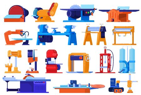 Electric machines, factory equipment set isolated on white, industrial plant manufacture, vector illustration