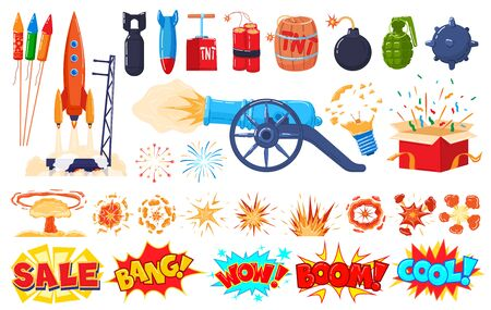Explosion icons set isolated on white, cartoon blast, bomb and firework stickers, vector illustration