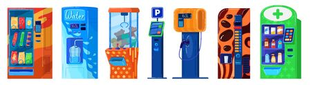 Vending machine isolated on white, parking, snacks and water, gas station and toys, vector illustration Stock Illustratie