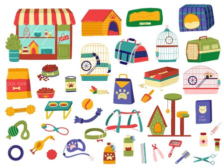 Pet shop assortment, products for animals, set of hand drawn items isolated on white, vector illustration