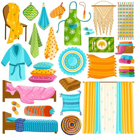 Home textile collection, set of domestic cloths isolated on white, household fabric collection, vector illustration