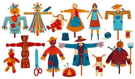 Garden scarecrows scary stuffed dolls to guard harvest with pumpkin head for Halloween isolated vector illustration set.