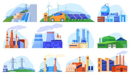 Factory power plants set of industrial constructions, urban enviroment, manufacturing stations isolated vector illustration.