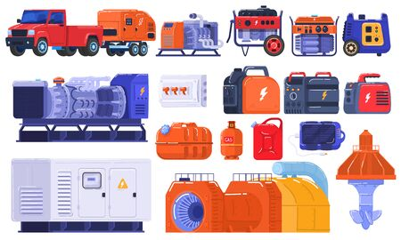 Generators set of energy generating portable electrical equipment, machines petrol fuel industrial engine isolated on white vector illustration.