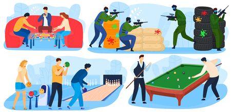 Menschen spielen Spiele, Freizeit und Spaß beim Spielen, Unterhaltung mit Paintball-Spiel, Billard, Bowling-Set von Vektorillustrationen. Vektorgrafik