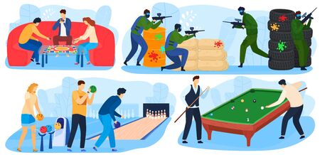 People play games, leisure and fun playtime activity, enterterment with paintball game, billiards, bowling set of vector illustrations.