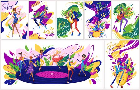 Summer jazz festival concert performance , jazzy musicians playing music, singers and jazz band instruments cartoon set of vector illustrations.