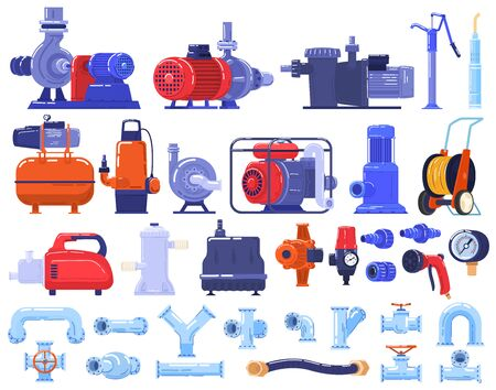Pipe water pumps machinery, equipment, pipeline technology in industry set of isolated vector illustration.