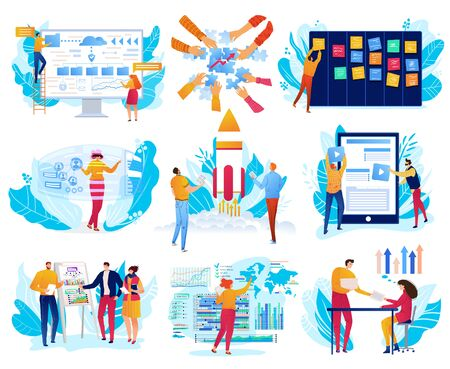 Business projects, graph work strategy concept, businessmen and digital tablet show graphs of business change set of vector illustration.