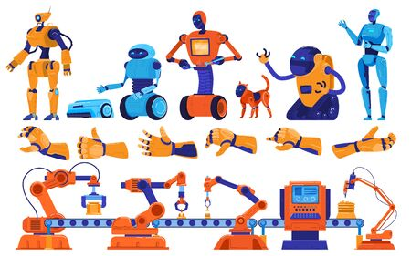 Robots and robotics arm manufacturing, industrial equipment, assembly line machines, robotical engineer workers vector illustration.
